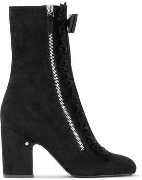 Laurence Dacade Patty Bow-Embellished Ruffle-Trimmed Suede Ankle Boots