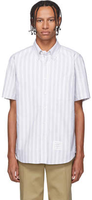 Thom Browne Grey Striped Short Sleeve Shirt
