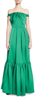 Zac Posen Off-the-Shoulder Satin & Crepe Gown, Emerald
