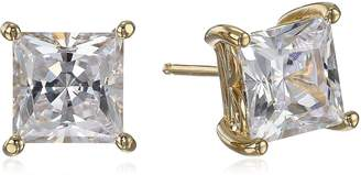 Swarovski Amazon Collection Yellow Gold Plated Sterling Silver Stud Earrings set with Princess Brilliant Cut Zirconia (4 cttw)