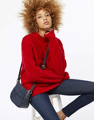 Monsoon Sofia Suede & Leather Cross Body Bag