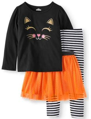 HALLOWEEN Halloween Long Sleeve T-Shirt, Leggings & Glitter Tutu, 3pc Outfit Set (Toddler Girls)