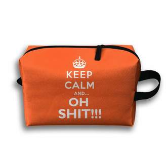 ERGOU Storage Bag Travel Pouch Keep Calm Oh Shit Purse Organizer Power Bank Data Wire Cosmetic Stationery Holder