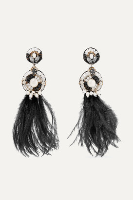 Ranjana Khan Gold-tone, Leather, Feather, Mother-of-pearl And Crystal Clip Earrings - Black