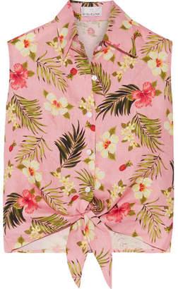 Miguelina Nelline Printed Linen Top - Baby pink