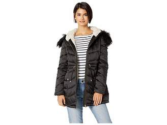 Jessica Simpson Quilted Hooded Jacket w/ Tie Waist Women's Coat