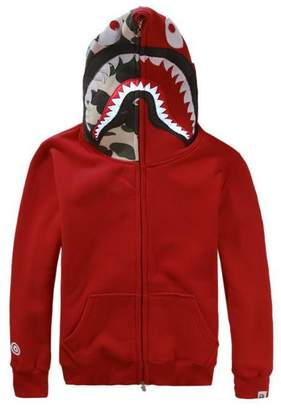 A Bathing Ape Ccoco New Men Bape Jacket Shark Head Hoodie Overcoat Sweatshirt-red-XXL