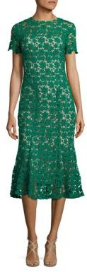 Shoshanna Park Floral Lace Midi Dress $440 thestylecure.com