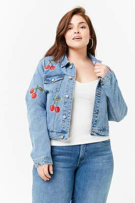 Forever 21 Plus Size Embroidered Cherry Denim Jacket