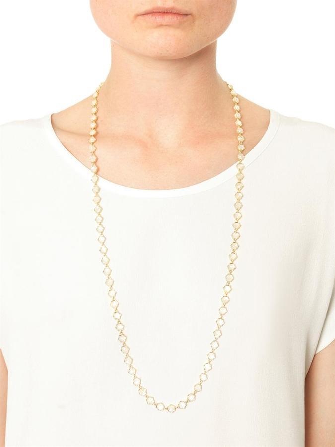 Irene Neuwirth Rainbow moonstone & yellow-gold necklace