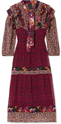 Anna Sui Butterflies And Bells Ruffled Printed Silk-jacquard Dress - Purple