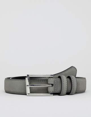 Asos DESIGN wedding smart faux leather slim belt in gray with double keepers and silver roller buckle