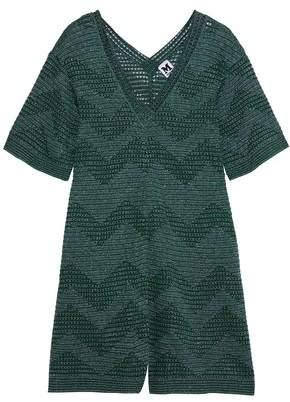 M Missoni Metallic Pointelle-knit Playsuit