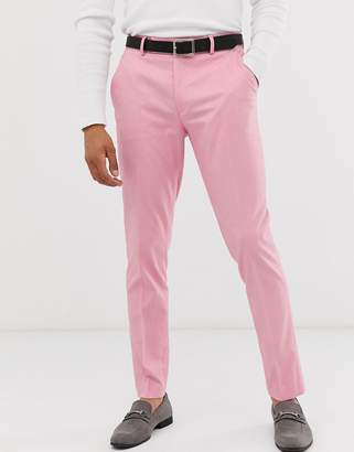Asos Design DESIGN skinny smart pants in pink oxford