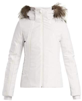 Fendi Roma Logo Embroidered Ski Jacket - Womens - White