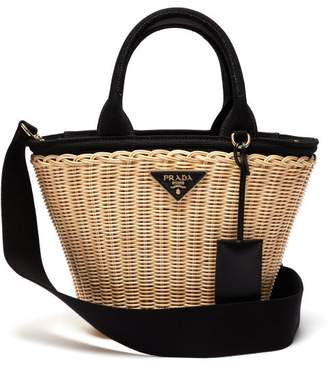 32f2c453f9d7db Prada Wicker And Canvas Basket Bag - Womens - Black Cream