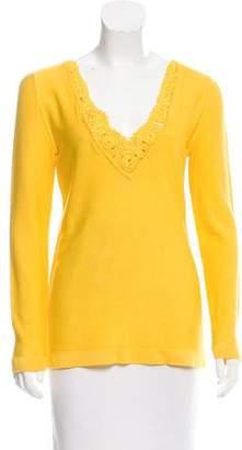 Ungaro Crochet-Trimmed Knit Top