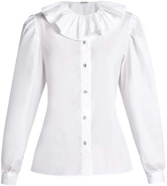 Miu Miu Ruffled-collar cotton-poplin blouse