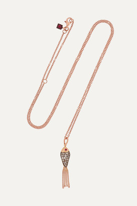 Selim Mouzannar Fishing For Love 18-karat Rose Gold, Enamel, Diamond And Ruby Necklace