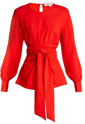 Diane von Furstenberg Balloon Sleeve Crepe Wrap Blouse - Womens - Red