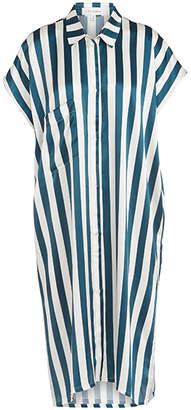 Violet And Wren Vita Stripe Silk Midi Sleepshirt
