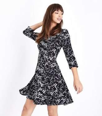 ff37f8fcec Blue Vanilla Black Ditsy Floral Skater Dress