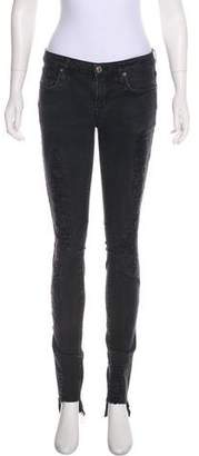 Helmut Lang Mid-Rise Distressed Skinny Jeans