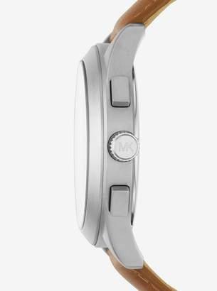 Michael Kors Gareth Silver-Tone Leather-Band Watch
