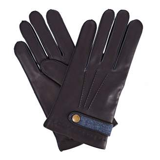 Gizelle Renee - Alfie Mens Navy Leather Gloves With Blue Tweed