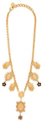 Dolce & Gabbana Charm & Faux Pearl Necklace - Womens - Gold