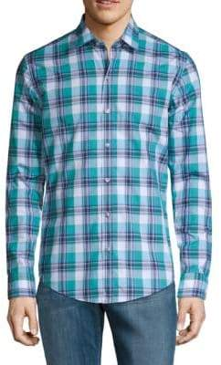 HUGO BOSS Plaid Sharp-Fit Button-Down Shirt
