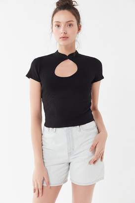 Truly Madly Deeply Cutout Mock Neck Tee