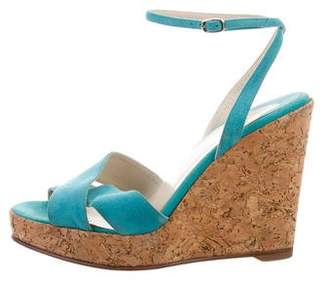 Christian Louboutin Suede Ankle Strap Wedges