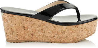 Jimmy Choo PAQUE 70 Black Patent Leather Cork Wedges