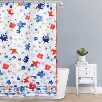 """Splash Home Vita Polyester Fabric Shower Curtain With Pompom's, 70"""" x 72"""", Blue / Red"""