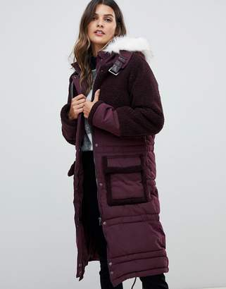 Urban Code Urbancode parka coat with tonal borg trim and faux fur hood