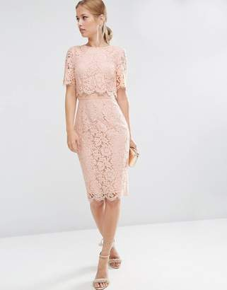 ASOS Lace Crop Top Midi Pencil Dress $111 thestylecure.com