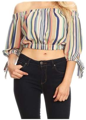 Casting Stripe Off-Shoulder Top