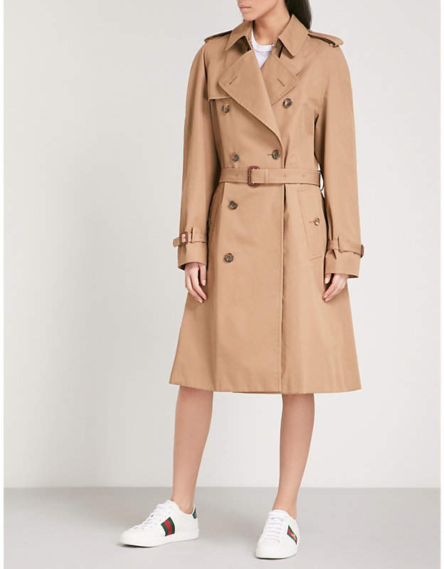 Gucci Cat-embroidered cotton-blend trench coat