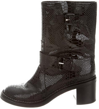 Casadei Patent Leather Mid-Calf Boots $260 thestylecure.com