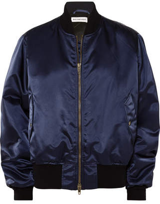 Balenciaga Embroidered Satin Bomber Jacket - Navy