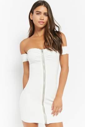 Forever 21 Zip-Front Off-the-Shoulder Dress
