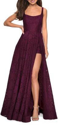 441d7fb4e9 La Femme Front Slit Lace Evening Dress