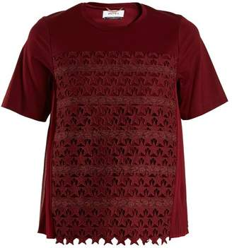 Muveil Star Embroidered Cotton Blend T Shirt - Womens - Burgundy