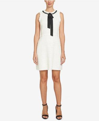 CeCe Textured Tie-Neck A-Line Dress $139 thestylecure.com