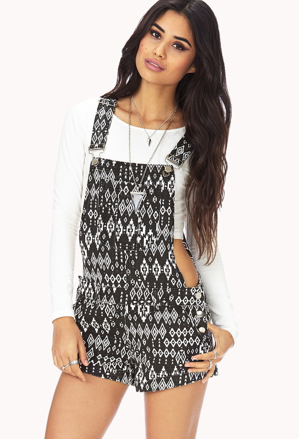 Forever 21 Ikat Print Overall Shorts