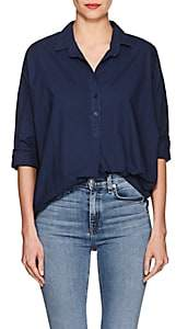 A Shirt Thing Women's Oversized Cotton Poplin Blouse-Navy Size 2