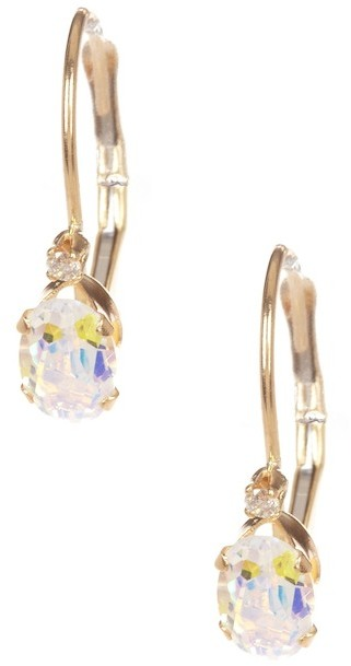 CandelaCandela 14K Yellow Gold Mystic Platinum Topaz Earrings with Diamond Accent
