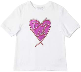 Dolce & Gabbana Heart Print Cotton Jersey T-shirt