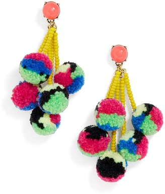 Caicos Pom Pom Earrings $34 thestylecure.com